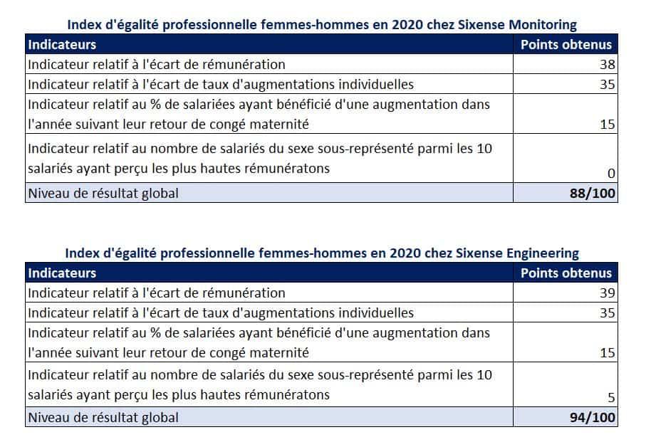 Détails de l'index de parité hommes-femmes des entités Sixense Monitoirng et Sixense Engineering pour 2021